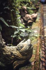 Fish sculptures in ancient overgrown tropical asian garden
