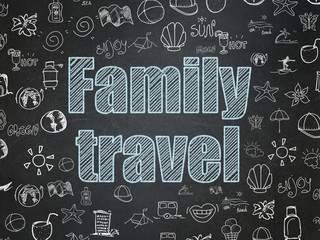 Tourism concept: Family Travel on School board background