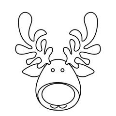silhouette cartoon funny face reindeer animal vector illustration