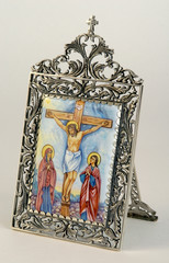 Ancient Russian icon on ceramics