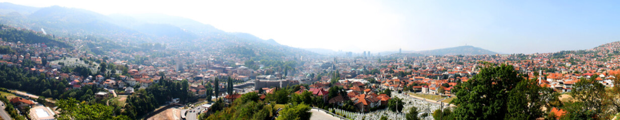 Panoramic view of Sarajevo, capital of Bosnia and Herzegovina. Photo is taken from The Yellow Fortress, in 2011.