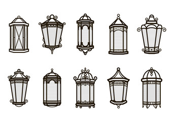 Vector vintage lantern set isolated on white. Classic antique light. Ancient retro lamp design. Traditional silhouette. Old graphic object design. Elegant collection.