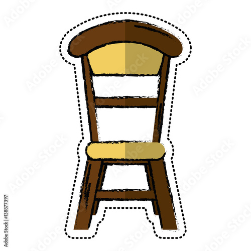 Quot cartoon wooden chair vintage design vector illustration