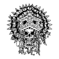 Aztec warrior tattoo. Skull. Vector illustration