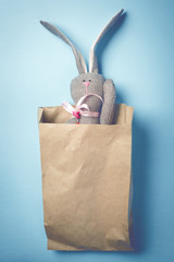 Easter bunny in a paper bag. Rabbit. Blue background. Easter ideas. Easter eggs. Space for text. Toned image. Trendy toning.