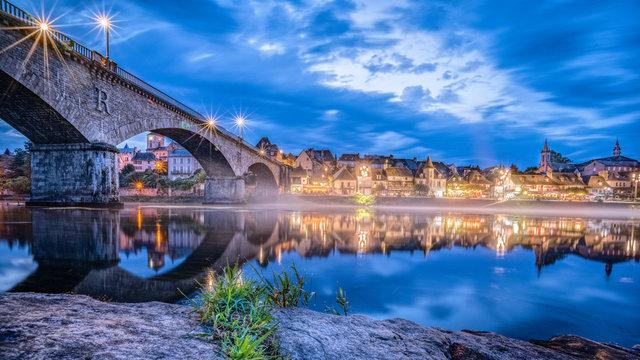 View over la Dordogne at Argentat, France