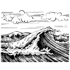 Sea wave graphic art  black white landscape.