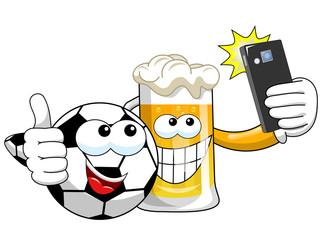Cartoon beer spccer ball taking selfie smartphone isolated