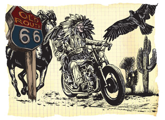 An hand drawn vector, freehand sketching. Native American couple, lovers, drive a motorycle on the route 66. Paper riders. - - - The bike is not specific brand - something as a common chopper. - - -