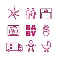 Medicine and pregnancy vector. Baby icons set vector