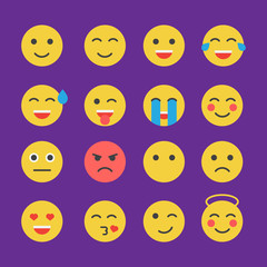 Emoticon vector set. Emoticon icons in flat style. Emoticon collection