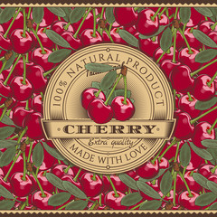 Vintage Cherry Label On Seamless Pattern