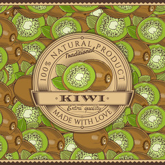 Vintage Kiwi Label On Seamless Pattern