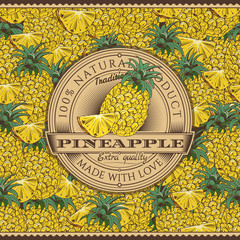 Vintage Pineapple Label On Seamless Pattern