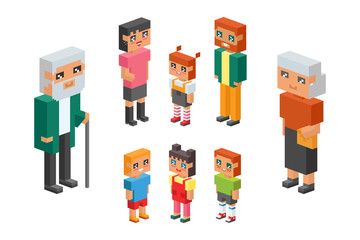 Fotobehang Illustraties 3d isometric family couple children kids people concept flat icons flirting love first date parenting together vector square illustration man woman