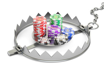 Gambling Addiction concept. Trap with gaming casino chips, 3D rendering