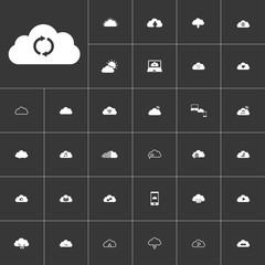 reload. white clouds icon set on gray background to use in web and mobile UI
