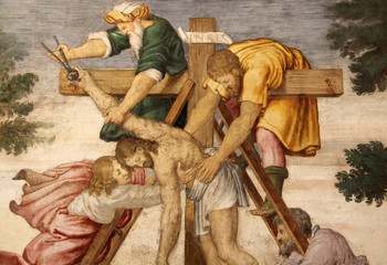 Cristo deposto dalla croce (particolare) affresco, Chiesa di San Maurizio, Milano