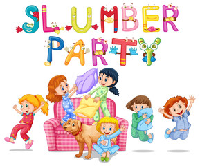 Slumber party with girls in pajamas at home