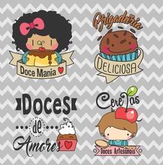 Logo, set logos, Etiquetas, tags. adesivos doces, docinhos, doce, logos, vetor, padaria, doceria, confeitaria 02