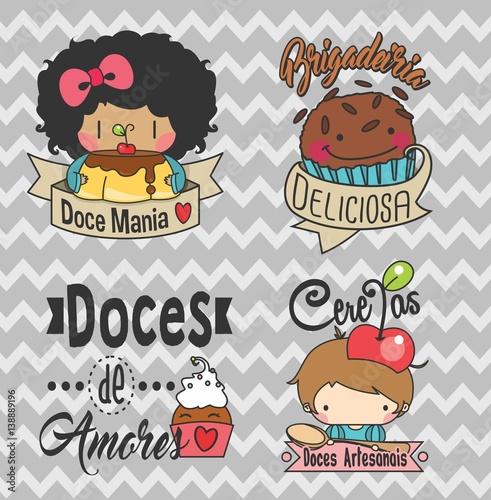 Favoritos Logo, set logos, Etiquetas, tags. adesivos doces, docinhos, doce  IJ89