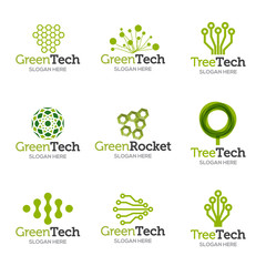 Collection of logo templates. Vector abstract shapes for green technology brand, logo, label design. Eco, organic, tree, energy, natural resources tech.