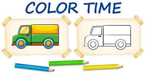 Coloring template for lorry truck