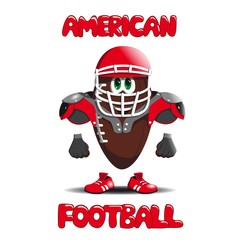 American football ball is a helmet, running shoes and protective shields
