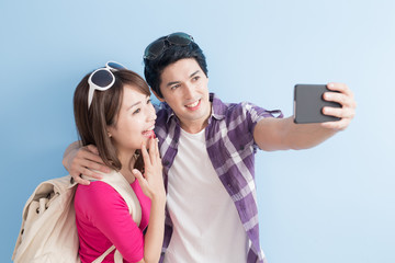 young couple selfie happily