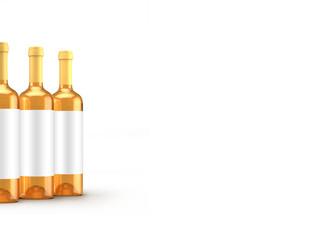 White wine bottle isolated. 3d illustration, 3d rendering.