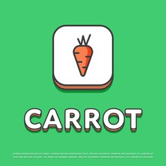 Carrot colour square icon isolated vector illustration. Fresh carrot vegetable symbol. Organic eco healthy vegetable, vegan food logo or sign in line design.