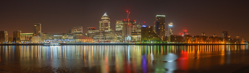 Canary Wharf business district at night