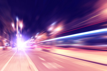 Abstract image of traffic lights in motion blur.