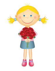 Cute little girl holding a bouquet of red roses. Isolated on white background.