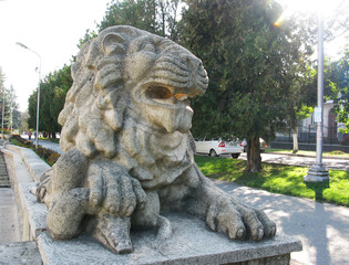 Greece antique lion animal monument statue figure photo
