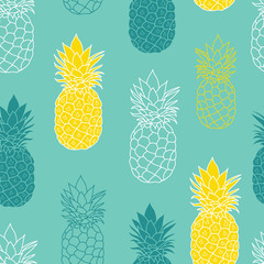 Fresh Blue Green Yellow Pineapples Vector Repeat Seamless Pattrern. Great for fabric, packaging, wallpaper, invitations.