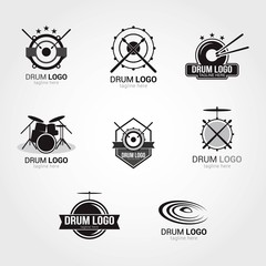 Drum Logo Design Template. Vector Illustration