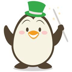 Magician penguin character vector illustration