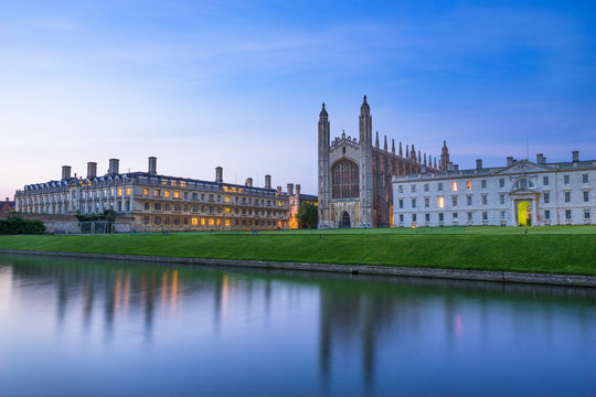 Evening view of Cambridge university, UK