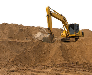 Backhoe excavator on the sand.