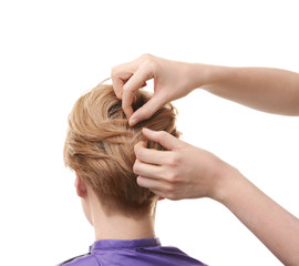 Hairdresser working with client on white background
