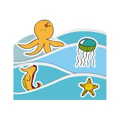 aquatic animals in the sea icon, vecto illustraction design image