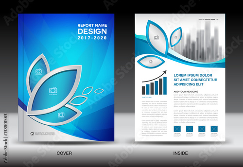 Brochure Template Layout, Blue Cover Design, Annual Report