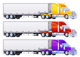 Colorful Trailers on a white background