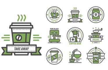 Coffee badge logo food design thin line lettering for restaurant, cafe menu coffee house and shop element beverage label sticker vector illustration.