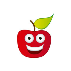 color red kawaii fruit apple happy icon, vector illustration design