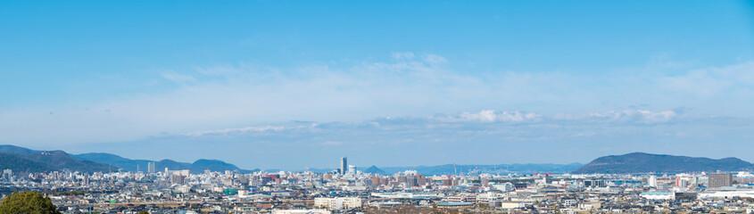高松市街並み パノラマ風景(香川県庁舎、サンポート高松シンボルタワーなど)
