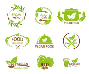 set of eco labels for vegetarian restaurants, organic products on an isolated background
