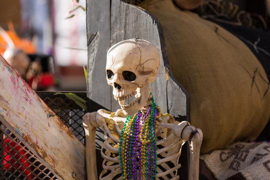 Skeleton On A Mardi Gras Parade Float