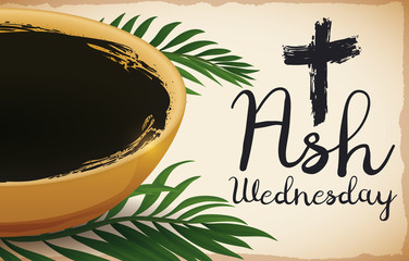 Bowl and Some Palm Leaves for Ash Wednesday, Vector Illustration